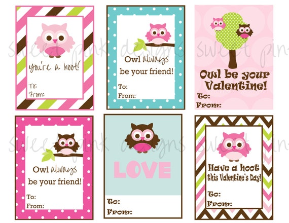 items similar to owl valentines printable kids valentines on etsy