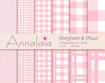 INSTANT DOWNLOAD Digital Paper Pack: Pink and White Gingham Plaid Checks Squares 12x12 8,5x11 Baby Girl Scrapbook Paper 362