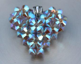 Beach Bling Heart Charm, Swarovski Crystal Handmade Jewelry, Shine Heart, Floating Necklace, Shiny Sand Opal Crystal Pendant