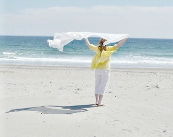 White Wedding Cover Up Sands Scarf Oversized Rustic Wrap Shawl Beach Long Cotton Eco Womens