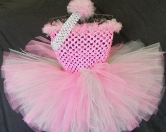 Baby - Infant/Toddler tutu dress - pink and gray with matching headband newborn-4T birthday, wedding, holiday, photos