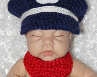Baby Train Engineer/Conductor Hat and Neckerchief