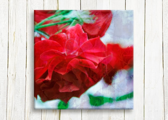 Red roses printed on Canvas - floral art print - bedroom decor - wedding gift