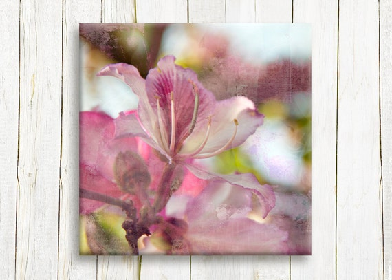 Pink flowers printed on canvas - wedding gift idea