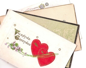 Set of Four Vintage Valentine Postcards From the 1920s - One Reads 'Master Harry Roman, Jr.' - Repurpose or Collect