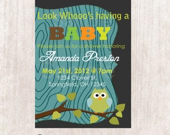 Owl Baby shower invitation, baby boy owl shower invitation, Digital Printable File