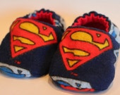 Baby Booties, soft soled shoe for infant or toddler made with Superman fabric
