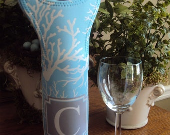 Monogrammed Wine Tote Personalized Wine Tote Coastal Wine Tote