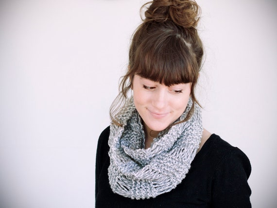 SALE, ONLY 1 LEFT, knitted white and gray acrylic circle scarf
