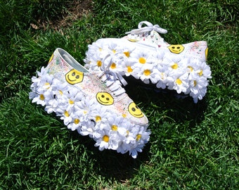 "Hand-Painted ""Flower Power"" Flatform Sneakers"
