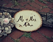 Natural Wood Mr and Mrs Wedding Wood Burned Sign Love Birds and Personalized