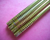 Lovely Fan Pencils 1980s Gold Striped Pencil Set Vintage Japanese Writing Supplies