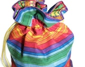 Rainbow Wrist Bag, Small Tote, Gift Bag, Christmas bag, Present bag, drawstring bag