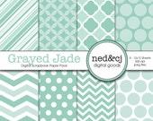 Digital Scrapbook Paper Pack - Grayed Jade - 2013 Pantone Spring Collection - Digital Paper - INSTANT DOWNLOAD