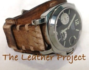 Handmade Natural Calf Vintage Bund Watch Strap Band with buckle.