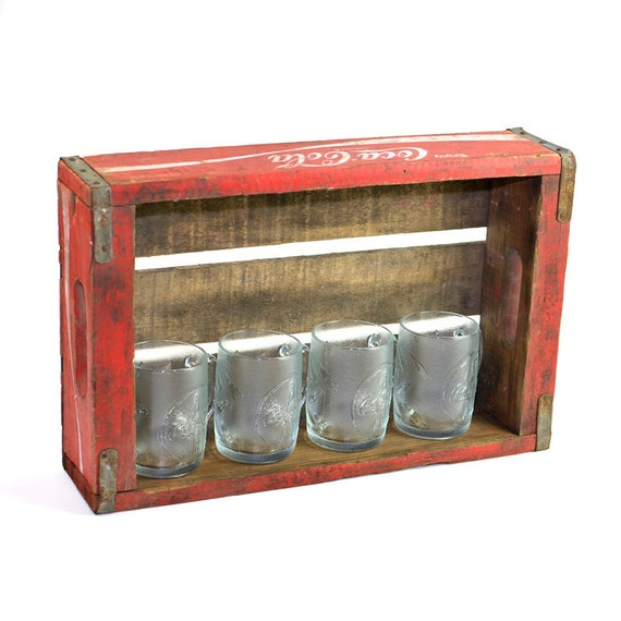 Coca Cola Crate Amp Retro Glass Mugs Upcycled Man Cave Gift