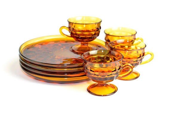 RESERVED Amber Glass Teacup & Snack Plate Set by Indiana Glass Company - Retro Yellow Orange Accent, 4 SETS, 8 PIECES - Vintage Kitchen