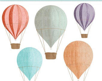 INSTAND DOWNLOAD - Hot Air Balloons Printable Digital Clip Art - For Personal or Commercial Use - Digital Designs