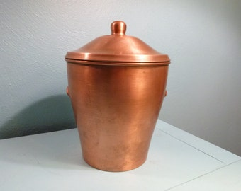 Large Solid Copper Ice Bucket with Heavy Glass Liner