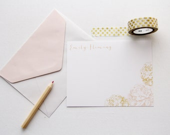 Peonies Personal Stationery Flat Note Card Set