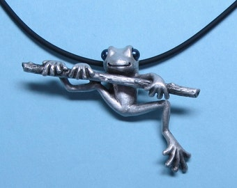 "Silver Frog Necklace With Pearl Eyes On Silicone Rubber Cord ""Froggz Only"" Collection - ""Azzer"""
