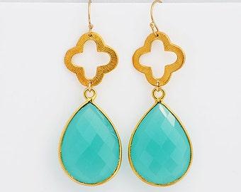 ON SALE - Faceted Aqua Green Chalcedony  Vermeil Gold bezel set Quatrefoil clover Earrings - Silver or Gold -  Large Gemstone Earrings