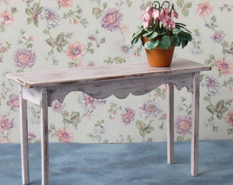 Dollhouse Sofa Table Handcrafted 12th Scale Shabby Chic Pink