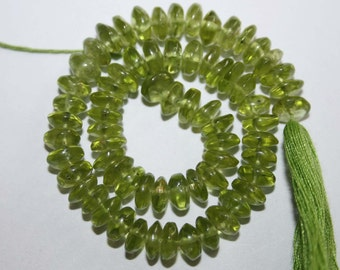 Natural AAA Quality Peridot 7 to 8mm Smooth Rondell Gemstone Beads 8 Inches RN011