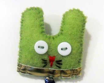 Rabbit felt brooch