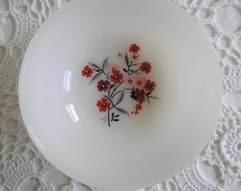 Fire King Primrose Berry or Dessert Bowls, Set of 8, Red & Pink Floral, Cottage Chic Retro Kitchen