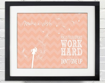 Make a wish...then Focus Your Effort - Work Hard - and - Don't Give Up - Custom Dandelion Silhouette Poster