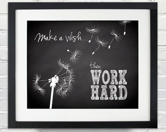 Make a wish...then WORK HARD - Custom Dandelion Silhouette and Chalkboard Poster, Inspirational Quote Poster, Print or Canvas Art