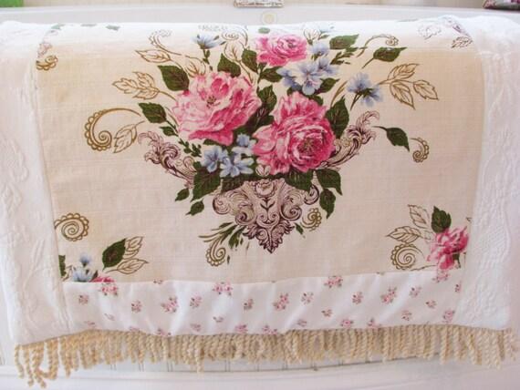 New Shabby Chic Vintage Barkcloth Roses Bouquet Rug Rachel