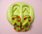 Polka dot Beach Flip Flops Flexible Silicone Polymer Clay Gum Paste Chocolate Fondant Push Mold - Food Grade 10x21mm
