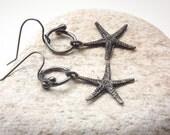 Starfish earrings oxidized earrings gunmetal starfish earrings fine silver earrings handmade links earrings lightweight earrings