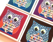 Colorful Owl with Dr. Who Collage Ceramic Tile Drink Coasters – Set of 4