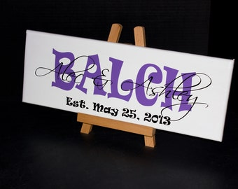 Established Family Name Sign. Wedding Gifts, Bridal Shower or Anniversary