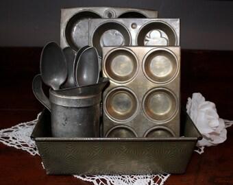 Trio of Vintage Mini Mid Century Muffin Tins Metal Baking