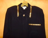 WoMeNs PLuS SLoucHy OverSizeD BLacK GoLD TriMMeD BLouSe XL