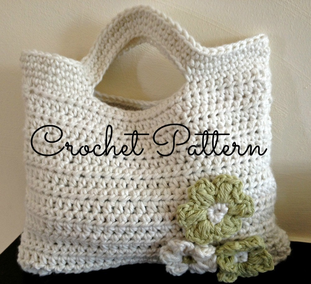 Crochet Bag Pattern Easy : Crochet Pattern Flora Crochet Bag Cute by BlueberryBarnDesigns