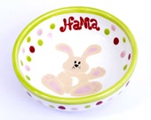 Personalized Easter Bunny Bowl for Children / Handmade Ceramic / Food, Dishwasher and Microwave Safe