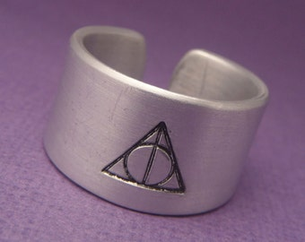 Wizard inspired - A Hand Stamped Aluminum Ring