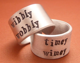 Wibbly Wobbly & Timey Wimey - A Pair of Hand Stamped Aluminum Rings