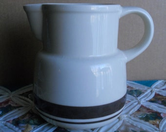 Vintage McCoy Stonecraft Cream and Brown Pitcher made in USA.  Great Home Decor or for a Vintage Collection.  Stonecraft line made in 1976.