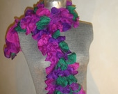 Hand Knitted, Ruffle Scarf, Frilly, Fuscia , Purple and Emerald Green. Fun Fashion Flair. -15% OFF. VALENTINE SALE. - lisaleanne