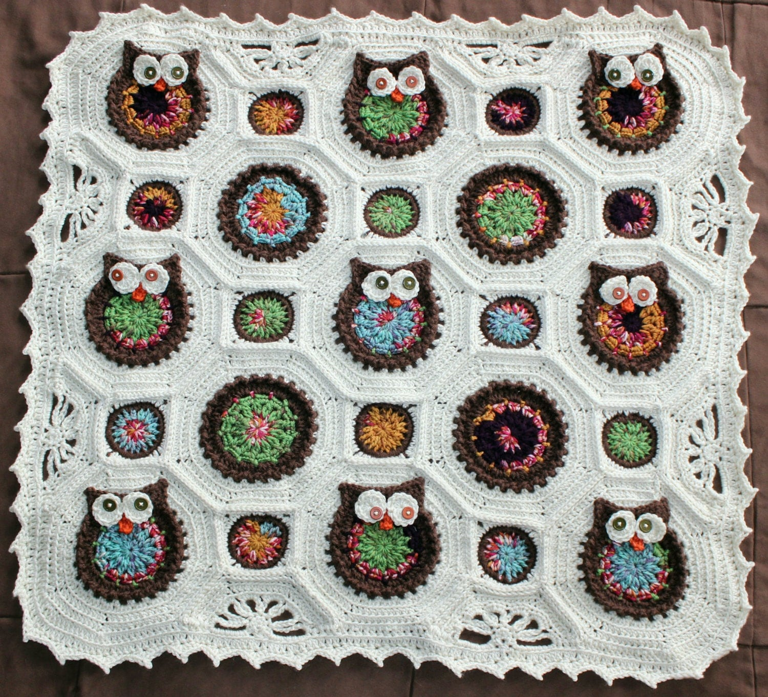 Free Crochet Pattern For Owl Baby Blanket : Reserved for Tracey Dispoto Owl Crochet Baby Blanket