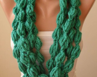 Mother's Day - Green Wool Infinity Scarf  - Crochet Scarf