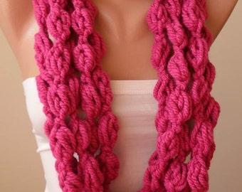 Dark Pink Wool Infinity Scarf  - Crochet Scarf