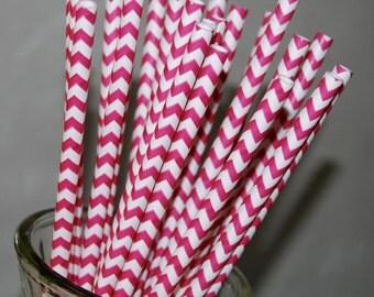 Paper straws Raspberry Pink Chevron Straws 25 Dark pink vintage paper straws & Flags drinking straws - zig zag cake pop sticks party straws