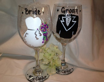 Bride and Groom Wedding Personalized Glasses, Wedding Gift, Bride Gift, Bride and Groom Glass, Personalized wedding gifts